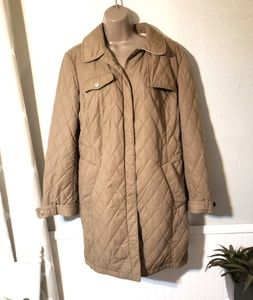 Coach brand quilted tan coat size large coat